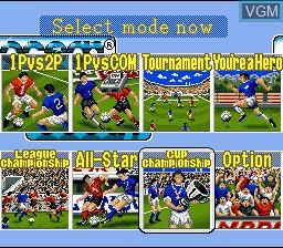 Menu screen of the game 90 Minutes - European Prime Goal on Nintendo Super NES