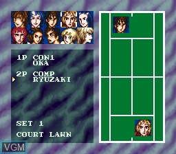 Menu screen of the game Ace wo Nerae! on Nintendo Super NES