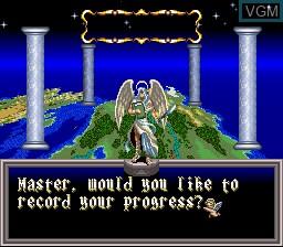 Menu screen of the game ActRaiser 2 on Nintendo Super NES