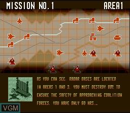 Menu screen of the game A.S.P. Air Strike Patrol on Nintendo Super NES