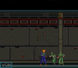 Menu screen of the game Appleseed - Prometheus no Shintaku on Nintendo Super NES