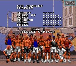 Menu screen of the game Barkley Shut Up and Jam! on Nintendo Super NES