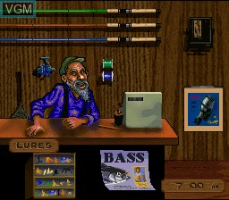 Menu screen of the game BASS Masters Classic on Nintendo Super NES