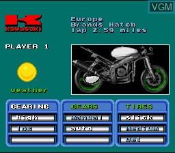Menu screen of the game Kawasaki Superbike Challenge on Nintendo Super NES