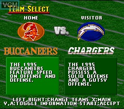 Menu screen of the game Madden NFL '96 - Reviewer Version on Nintendo Super NES
