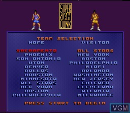 Menu screen of the game Magic Johnson's Super Slam Dunk on Nintendo Super NES