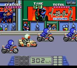 In-game screen of the game Kamen Rider SD - Shutsugeki!! Rider Machine on Nintendo Super NES