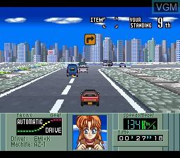 In-game screen of the game Kat's Run - Zennihon K Car Senshuken on Nintendo Super NES