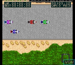 In-game screen of the game Kawasaki Caribbean Challenge on Nintendo Super NES