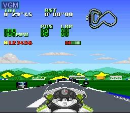 In-game screen of the game Kawasaki Superbike Challenge on Nintendo Super NES