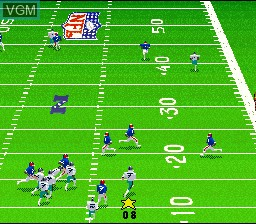 In-game screen of the game Madden NFL '95 on Nintendo Super NES