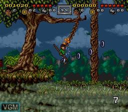 In-game screen of the game 3 Ninjas Kick Back on Nintendo Super NES
