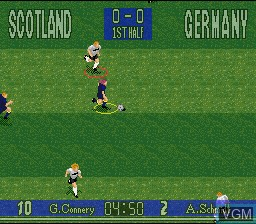 In-game screen of the game 90 Minutes - European Prime Goal on Nintendo Super NES