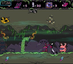In-game screen of the game AAAHH!!! Real Monsters on Nintendo Super NES