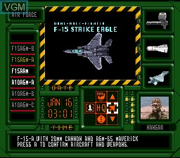 In-game screen of the game A.S.P. Air Strike Patrol on Nintendo Super NES