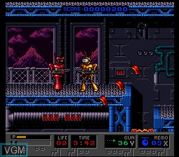 In-game screen of the game B.O.B. on Nintendo Super NES