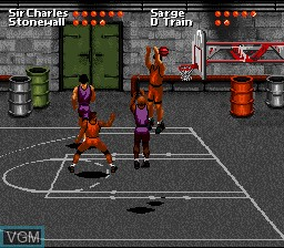 In-game screen of the game Barkley Shut Up and Jam! on Nintendo Super NES