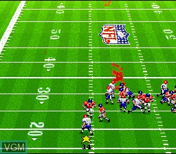 In-game screen of the game Madden NFL '94 on Nintendo Super NES