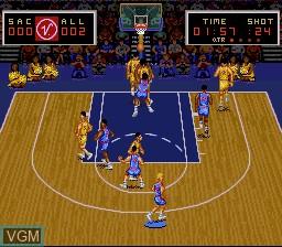 In-game screen of the game Magic Johnson's Super Slam Dunk on Nintendo Super NES