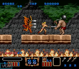 In-game screen of the game Magic Sword on Nintendo Super NES