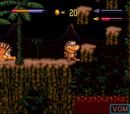 In-game screen of the game Radical Rex on Nintendo Super NES