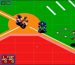 In-game screen of the game 2020 Super Baseball on Nintendo Super NES