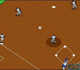 In-game screen of the game Super Kyuukyoku Harikiri Stadium on Nintendo Super NES