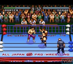 In-game screen of the game Zennihon Pro Wrestling on Nintendo Super NES