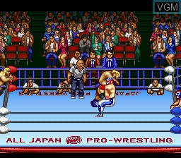 In-game screen of the game Zennihon Pro Wrestling 2 - 3-4 Budoukan on Nintendo Super NES
