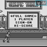 Title screen of the game Olympic Trials on Watara Supervision