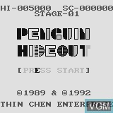 Title screen of the game Penguin Hideout on Watara Supervision