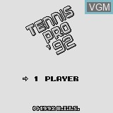 Title screen of the game Tennis Pro '92 on Watara Supervision