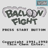Title screen of the game Balloon Fight on Watara Supervision