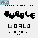 Title screen of the game Bubble World on Watara Supervision