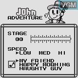 Menu screen of the game John Adventure on Watara Supervision