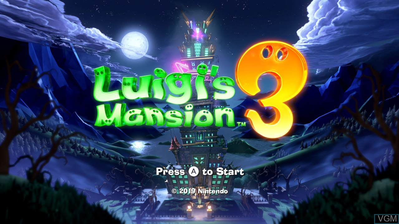 Title screen of the game Luigi's Mansion 3 on Switch
