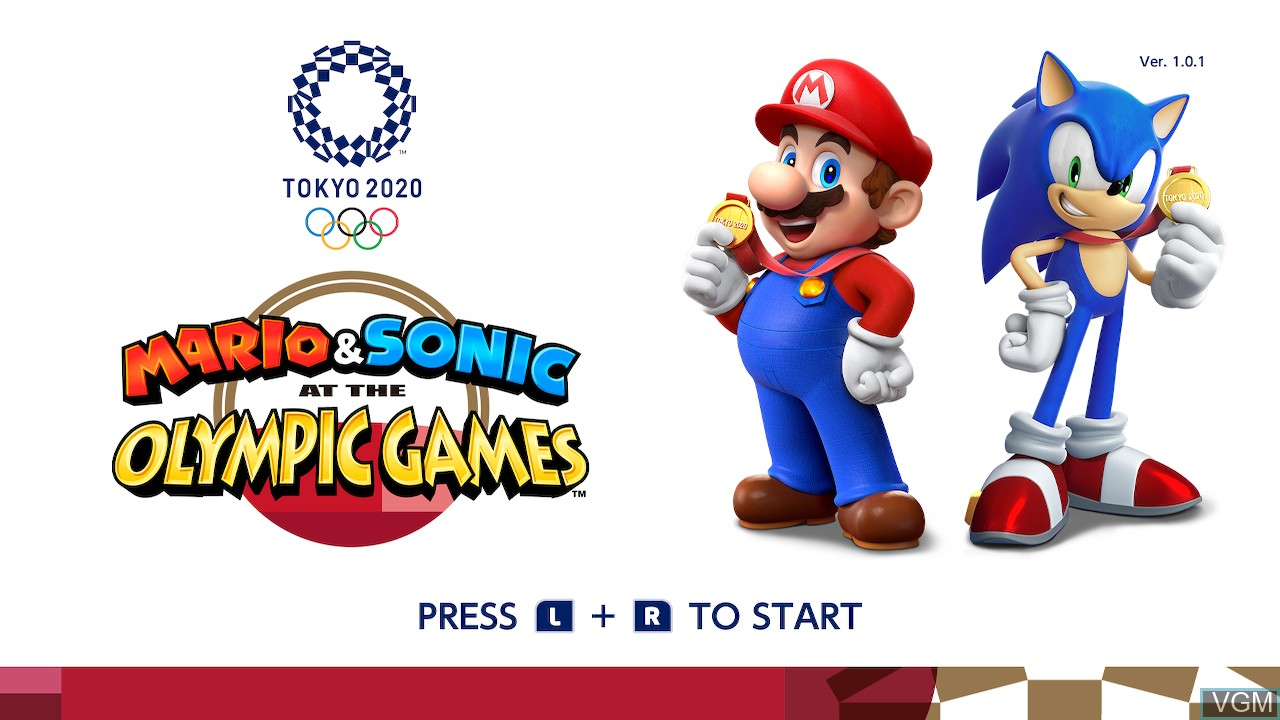Title screen of the game Mario & Sonic at the Olympic Games - Tokyo 2020 on Switch