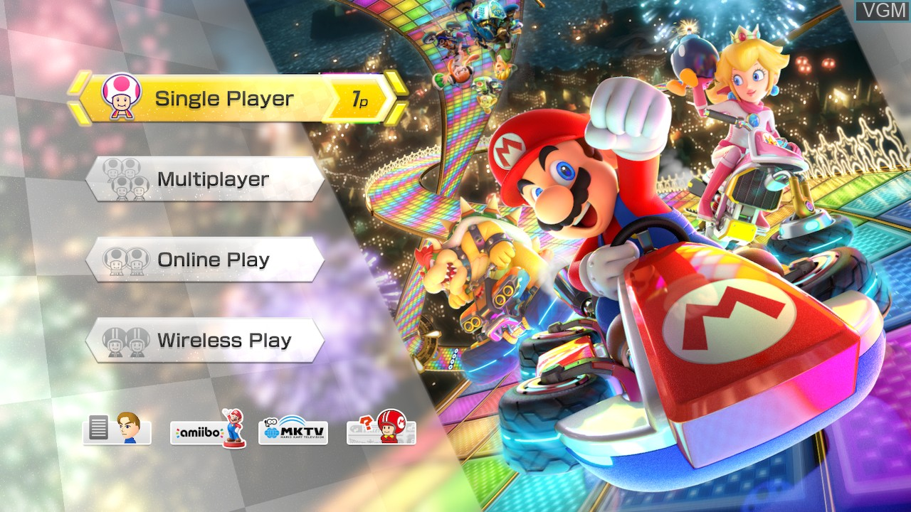 Menu screen of the game Mario Kart 8 Deluxe on Switch
