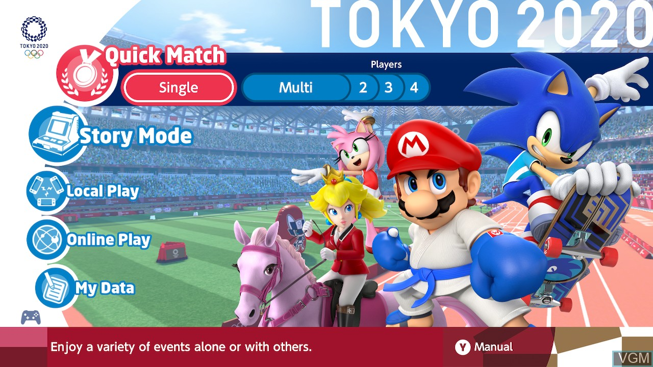 Menu screen of the game Mario & Sonic at the Olympic Games - Tokyo 2020 on Switch