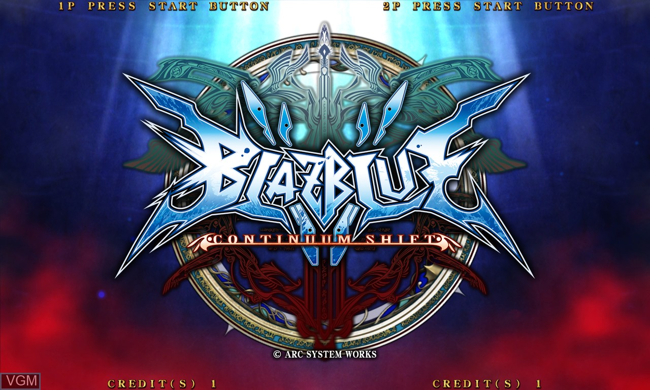 Title screen of the game BlazBlue - Continuum Shift on Taito Type X