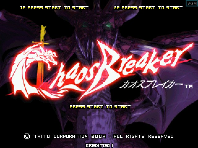 Title screen of the game Chaos Breaker on Taito Type X