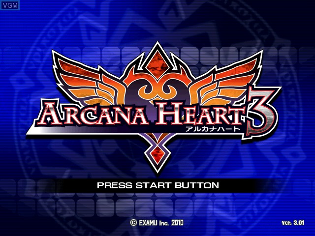 Title screen of the game Arcana Heart 3 on Taito Type X
