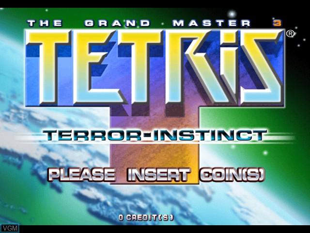 Title screen of the game Tetris The Grand Master 3 - Terror Instinct on Taito Type X