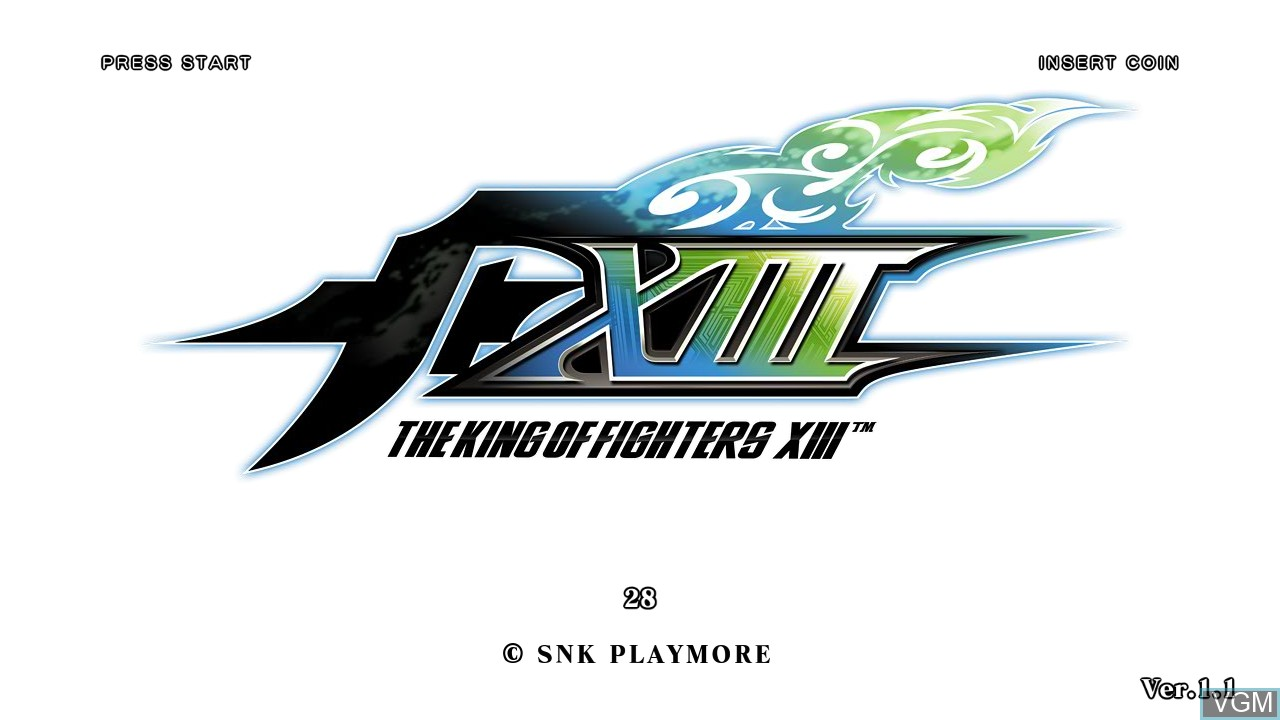 Title screen of the game King of Fighters XIII, The on Taito Type X