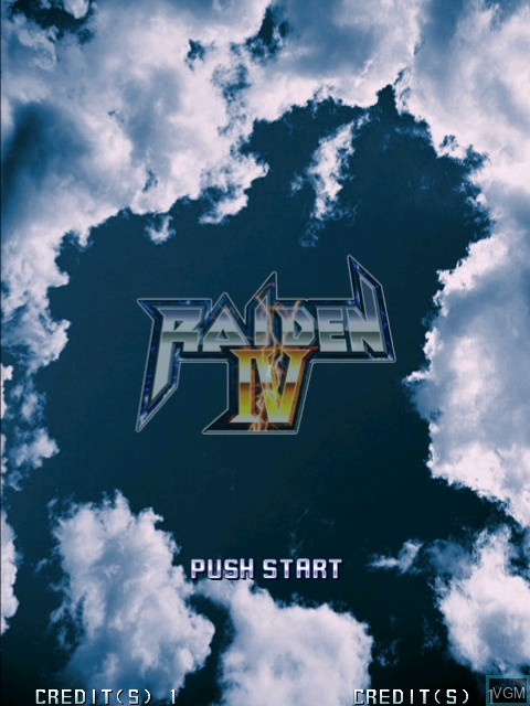 Title screen of the game Raiden IV on Taito Type X