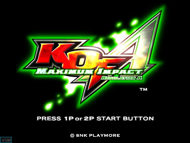 Title screen of the game KOF - Maximum Impact Regulation A on Taito Type X
