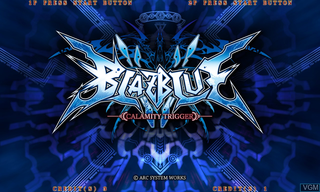 Title screen of the game BlazBlue - Calamity Trigger on Taito Type X