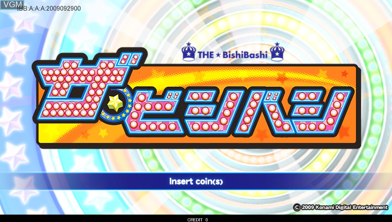 Title screen of the game The Bishi Bashi on Taito Type X