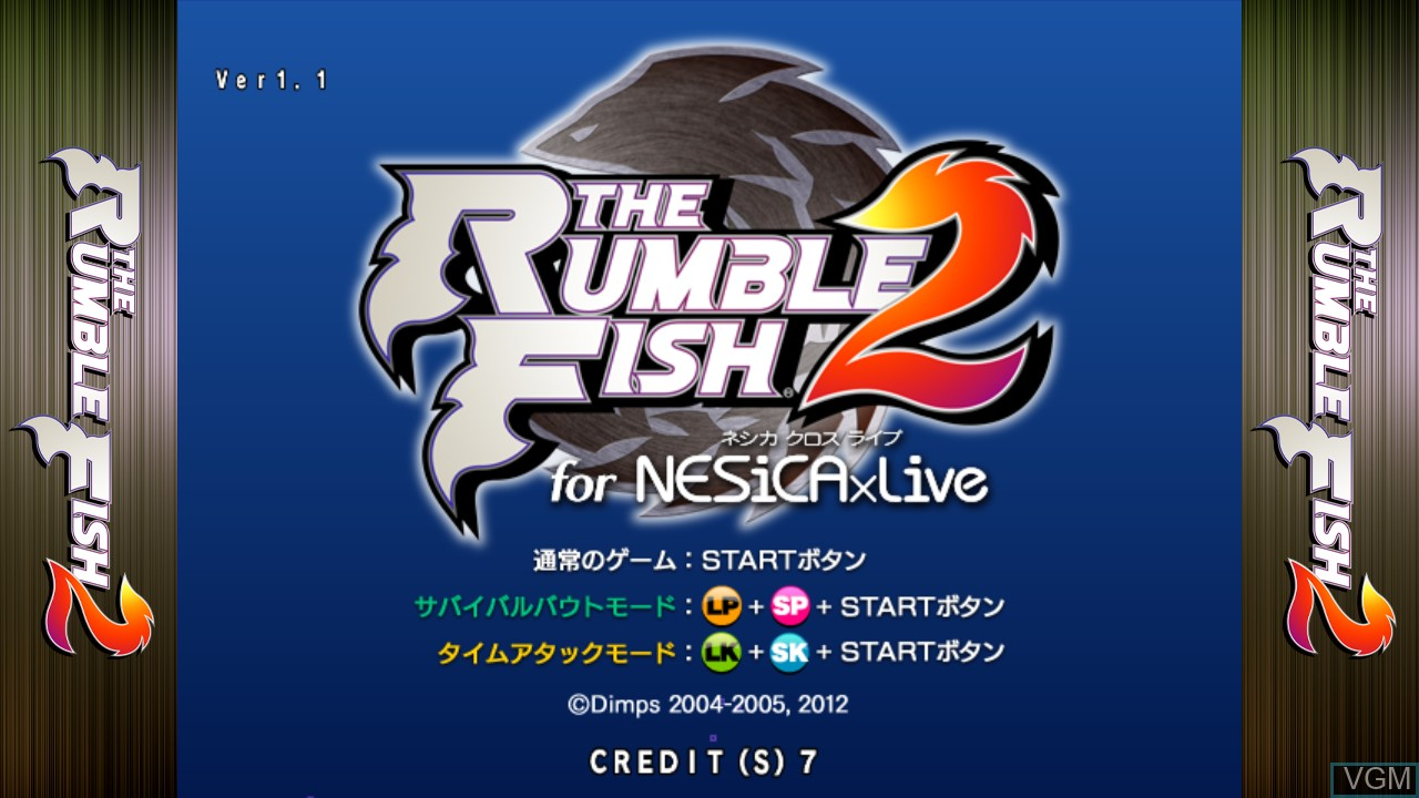 Title screen of the game Rumble Fish 2, The - NESiCA x Live Version on Taito Type X