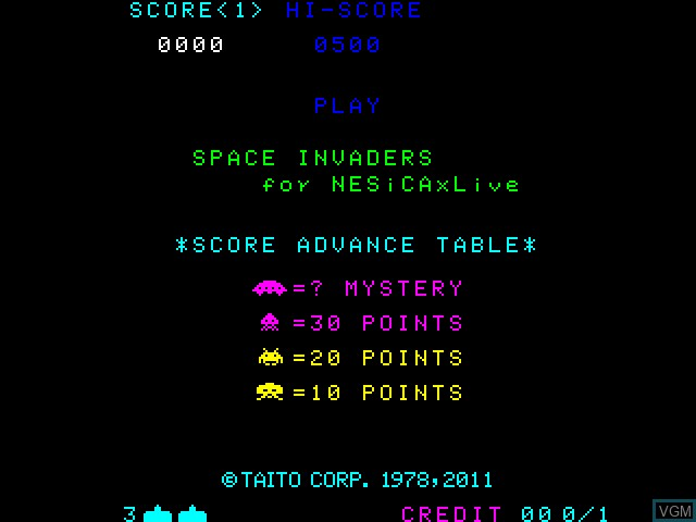 Title screen of the game Space Invaders on Taito Type X